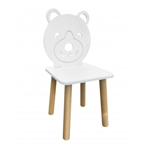 Детский стул Мишка, ножки натурального цвета