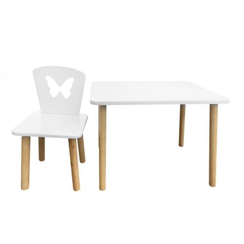 Детский стул Бабочка белоснежный, ножки натуральные