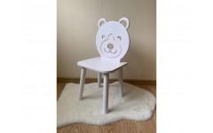 Детский стул Мишка белого цвета, ножки белые