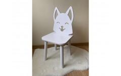 Детский стул Лисенок белого цвета, ножки белые