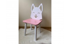 Детский стул Лисенок розового цвета, ножки белые
