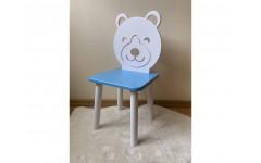 Детский стул Мишка голубого цвета, ножки белые