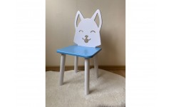 Детский стул Лисенок голубого цвета, ножки белые
