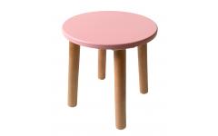 Детский табурет розовый серия Scandi с натуральными ножками